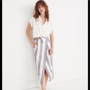 Madewell Striped Linen Split Skirt Gray/White Sz S